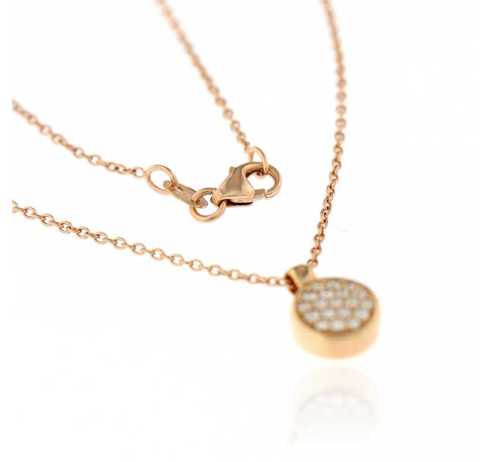 Halsketting cirkel 0.16 ct roze goud