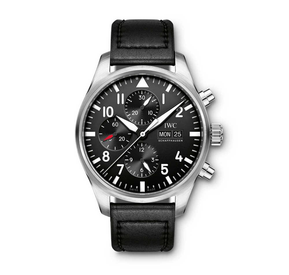 Pilot's Watch chronograaf automatisch staal op leder