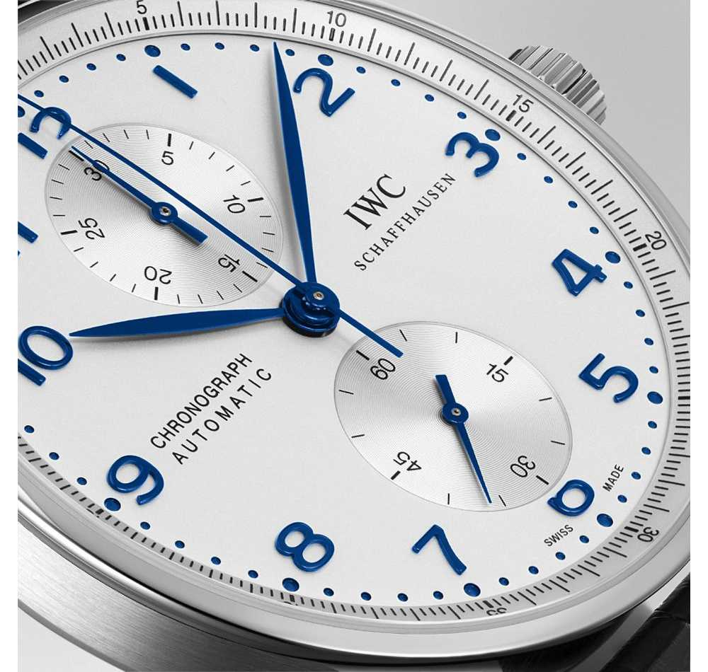 Portuguese Chrono-Auto White Blue leather