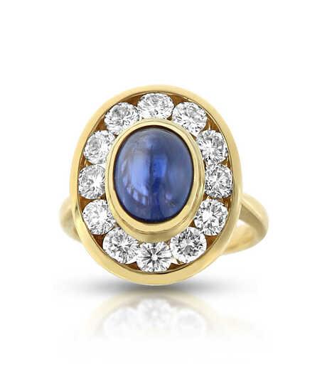 Geelgouden ring met saffier 2.97 ct en briljanten