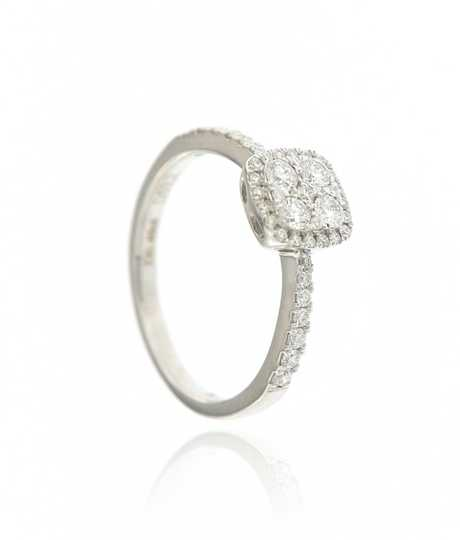Ring vierkant 0.55 ct wit goud