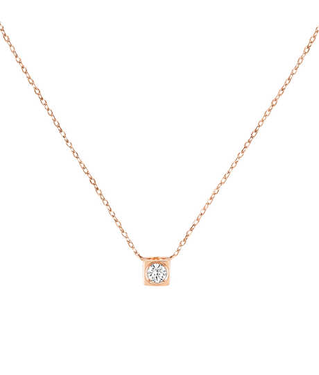 Le Cube Diamant necklace pink gold and diamond
