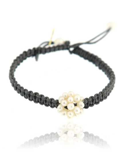 Armband met biwa parels in bloemvorm