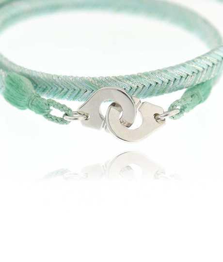 Bracelet licht groen Menottes Zilver