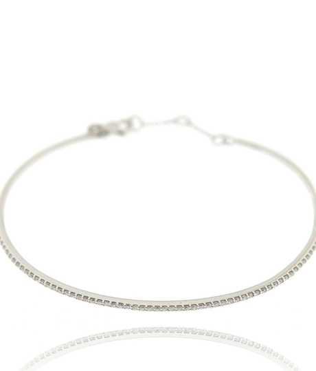 Armband rondom gezet met briljanten in wit goud 18 kt