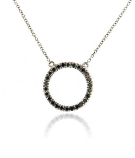Cirkel wit goud met witte en zwarte diamanten