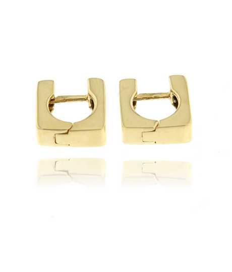 Oorbellen vierkante clips geel goud