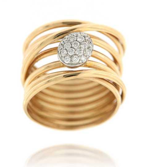 Ring draadwerk roze goud met ovaal bol gezet in 18 ct