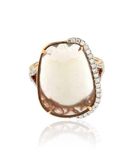 Roze gouden ring 18k met briljant en maansteen