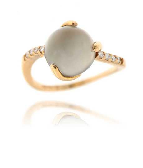 Ring in roze goud 18 kt met grijze maansteen cabochon