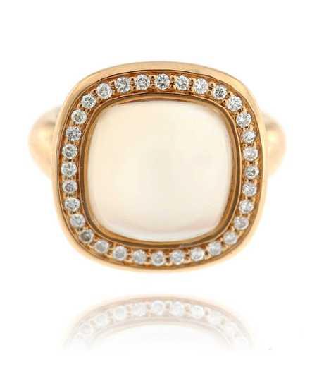 Roze gouden ring 18 kt met lichtgrijze maansteen en briljanten