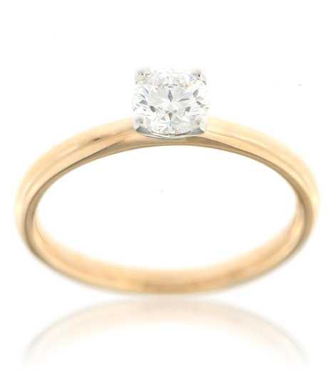 Bicolor gouden ring met Solitair  0.49 ct