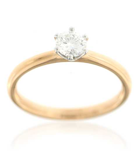 Bicolor ring met Solitaire 0.43 ct