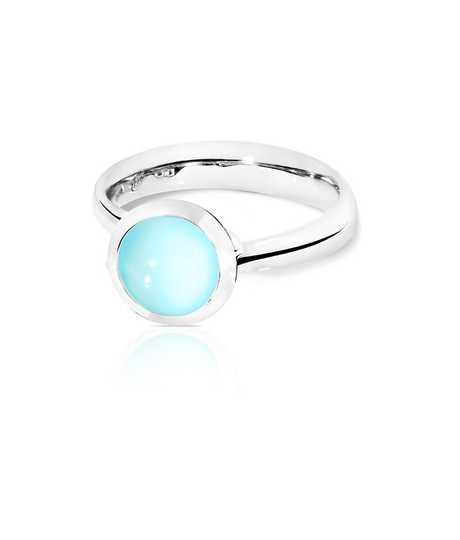 Ring small Bouton Aqua Chalcedony wg