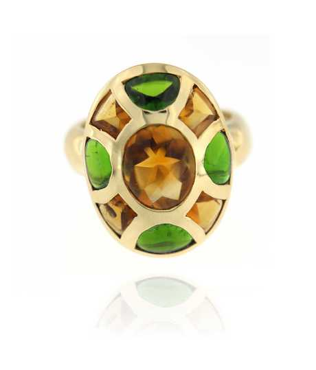 Ring citrine en peridot