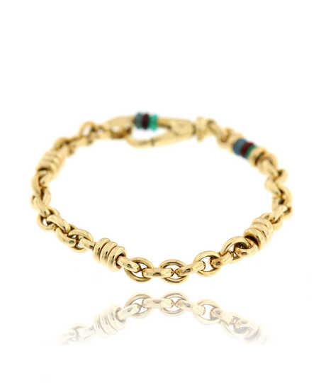 Armband geel goud 18kt met agaat ringen