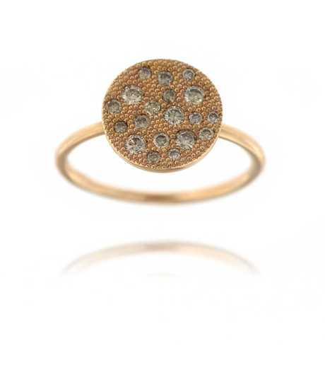 Roze gouden ring met 16 briljanten 18 kt