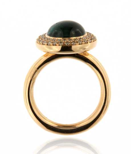 Solar ring in roze goud met indigoliet Toermalijn