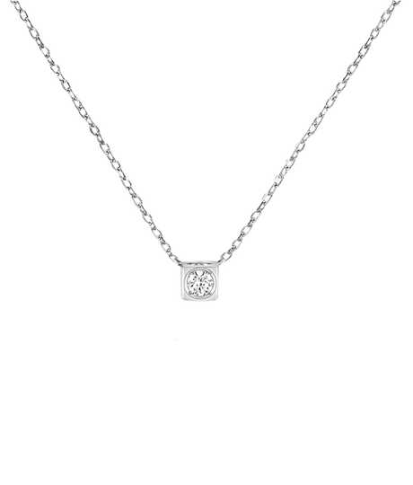 Le Cube Diamant small necklace white gold and diamond