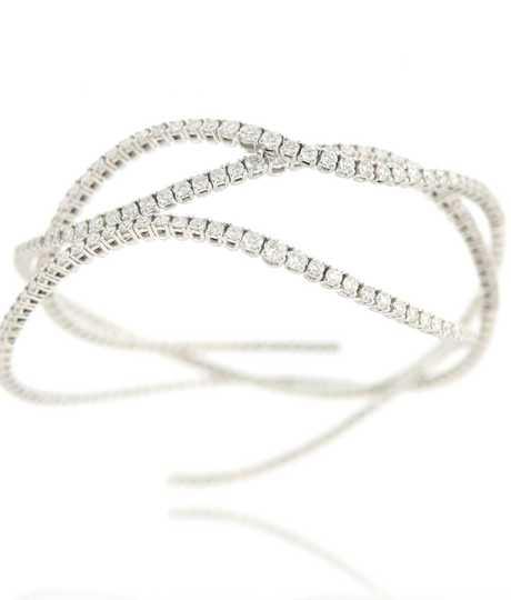 Witgouden flexibele armband met briljanten
