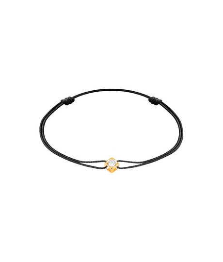 Le Cube Diamant armband met briljant in geel goud op koord