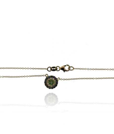Halsketting in wit goud met ronde hanger - briljanten en edelstenen
