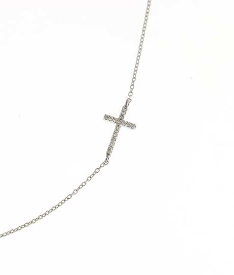 Halsketting met  kruisje wit goud met briljanten