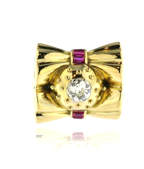 Geelgouden vintage ring met briljant en robijnen