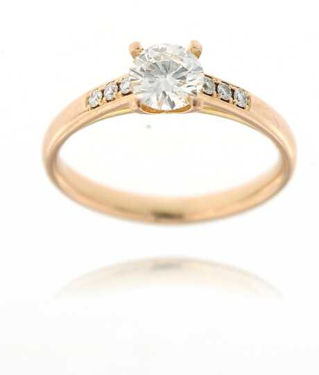 Roze gouden ring met solitaire 0.52 ct
