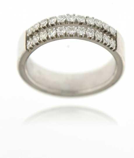 Wit gouden ring met 2 rijen van 11 briljanten