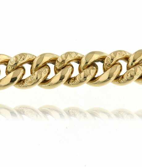 Geelgouden gourmette armband holle schakels