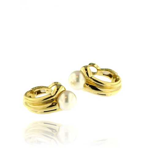 Oorclipsen in geel goud   Akoya parel 7.6 mm