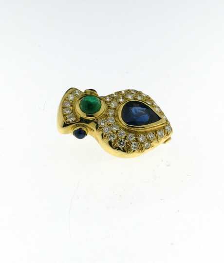 Geelgouden broche met saffier, smaragd en briljanten