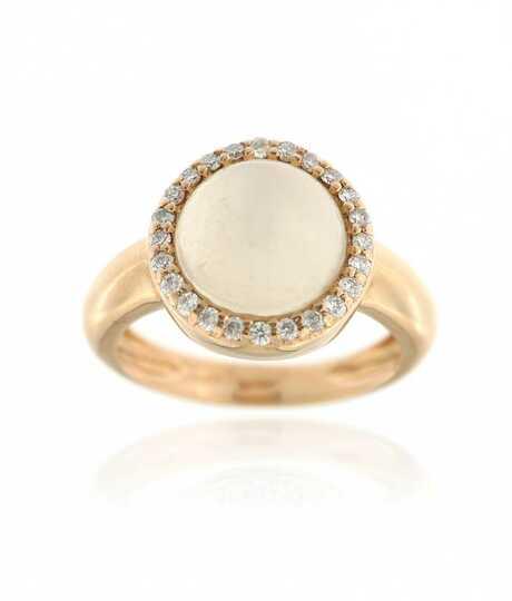 Ring roze goud met cabochon geslepen maansteen en briljanten