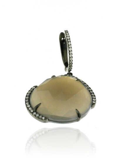 Oorbellen in wit goud zwart gerhodineerd -  met Agaat