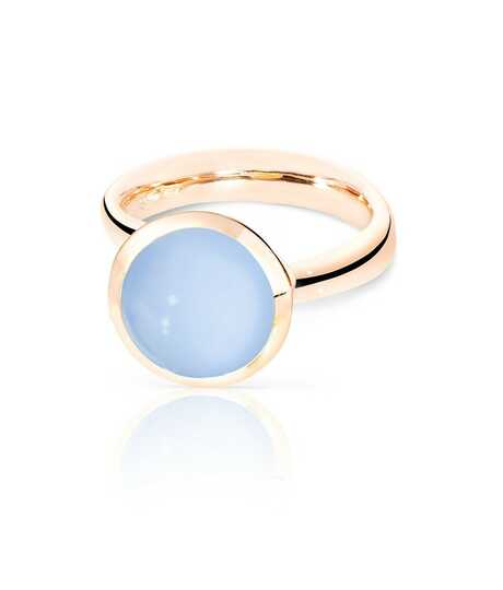 Bouton Ring Large Blue Chalcedony