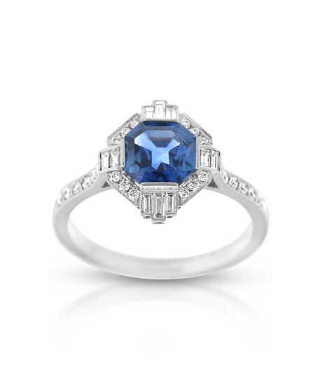 'Art Deco' wit gouden ring met blauwe saffier